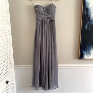 Bari Jay grey long formal bridesmaid dress size 8